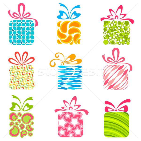 Stock foto: Farbenreich · Geschenkbox · Illustration · Set · isoliert