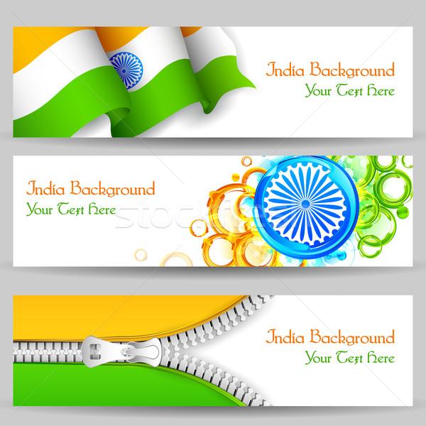 Foto stock: Bandeira · Índia · celebração · ilustração · conjunto