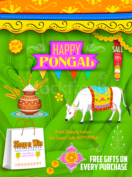 Happy Pongal greeting and shopping background Stock photo © vectomart