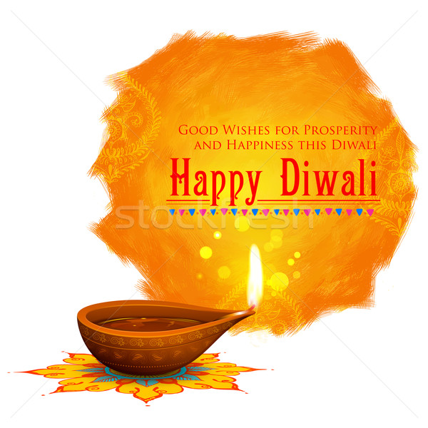 Happy Diwali background coloful watercolor diya Stock photo © vectomart