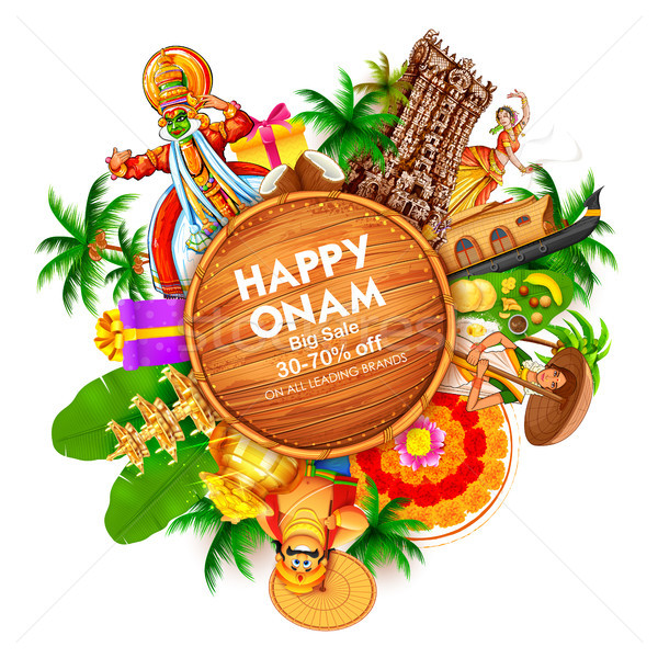 Advertisement and promotion background for Happy Onam festival of South India Kerala Stock photo © vectomart