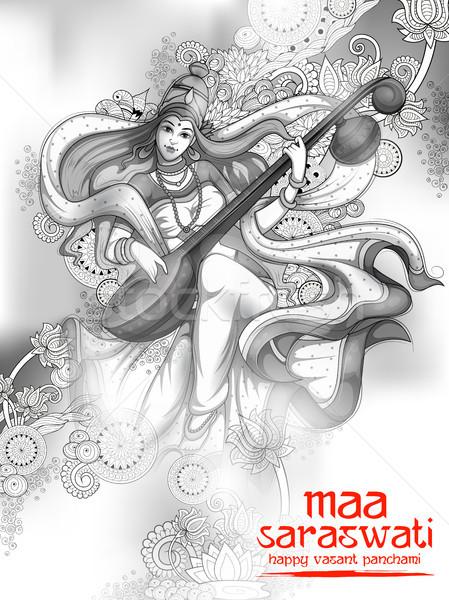 Tanrıça bilgelik Hindistan festival örnek sanat Stok fotoğraf © vectomart