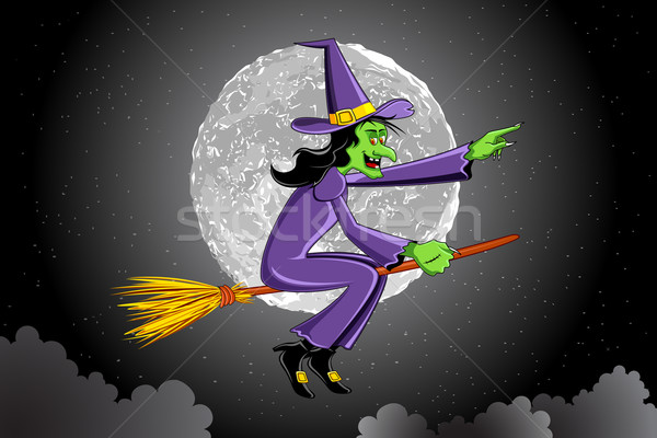 Witch Flying on Broomstick Stock photo © vectomart