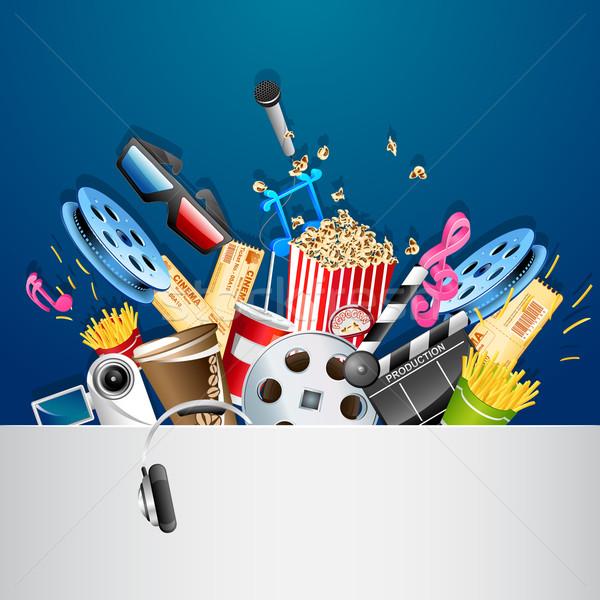 Bioscoop illustratie verschillend film object muziek Stockfoto © vectomart