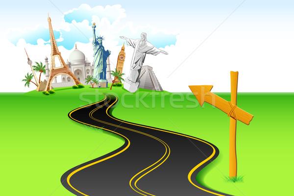 út világutazás illusztráció vezető világ híres Stock fotó © vectomart