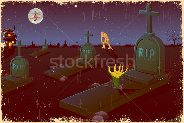 Halloween nacht kerkhof illustratie vliegen heks Stockfoto © vectomart