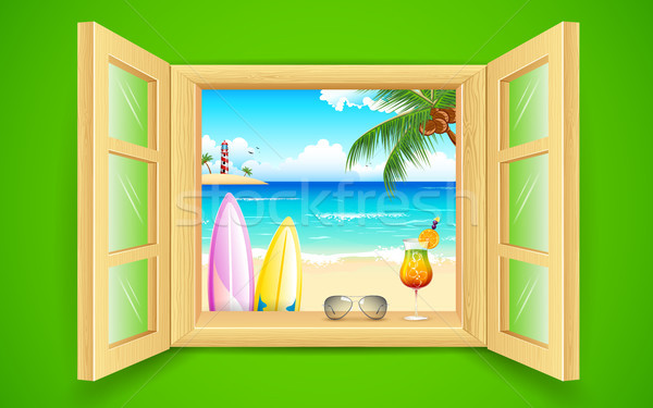 Morza plaży widoku okno ilustracja drzewo Zdjęcia stock © vectomart