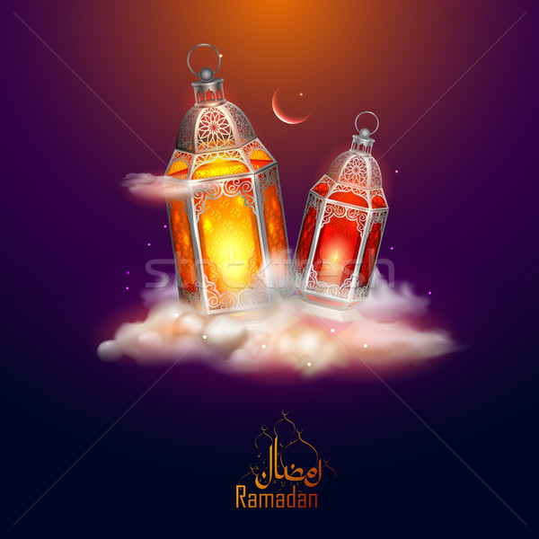 Ramadan Kareem Generous Ramadan greetings for Islam religious festival Eid with illuminated lamp Stock photo © vectomart