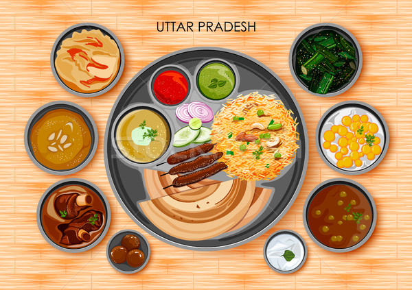 Traditional cuisine and food meal thali of Uttar Pradesh India Stock photo © vectomart