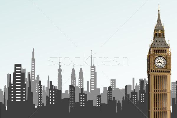Big Ben tour illustration cityscape fond bâtiment Photo stock © vectomart
