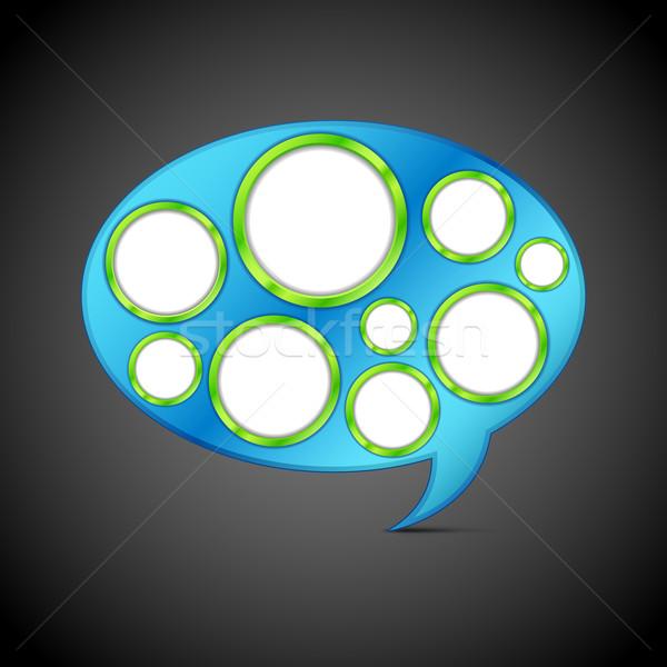 Czat bańki szablon ilustracja kółko internetowych streszczenie Zdjęcia stock © vectomart