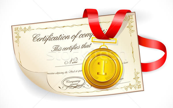 Medal on Certificate Stock photo © vectomart