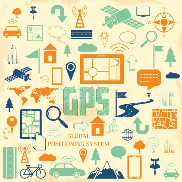Gps toepassing illustratie navigatie technologie Stockfoto © vectomart