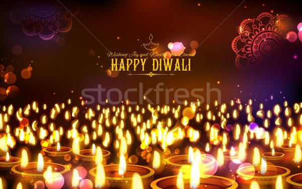 Ardere fericit diwali vacanţă lumina festival Imagine de stoc © vectomart