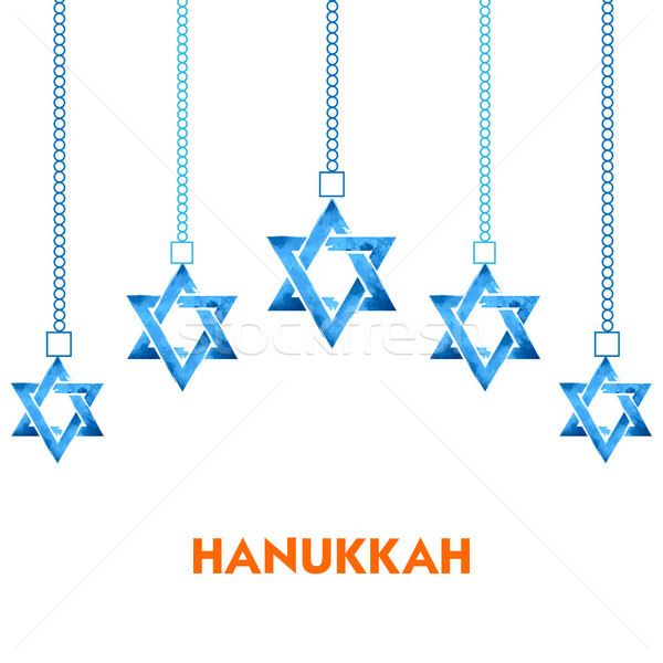 Happy Hanukkah, Jewish holiday background with hanging star of David Stock photo © vectomart