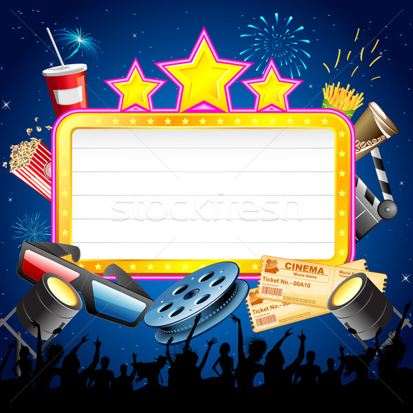 Cinema Display Board with Cheering Crowd Stock photo © vectomart
