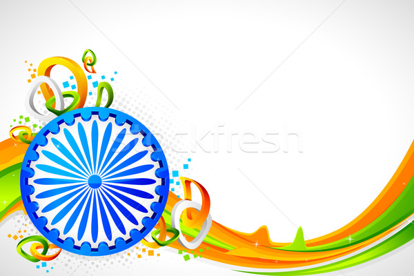Ashok Wheel on Tricolor Background Stock photo © vectomart