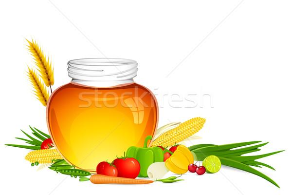 Alimenti freschi illustrazione miele jar frutta Foto d'archivio © vectomart