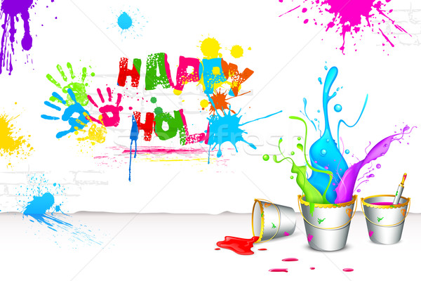 Holi Background with Bucket of color Stock photo © vectomart