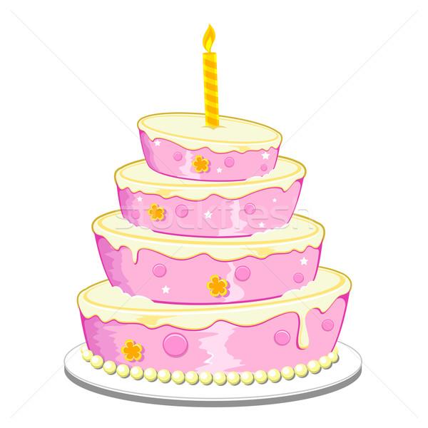 Gâteau d'anniversaire illustration bougie isolé alimentaire fête Photo stock © vectomart