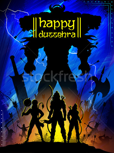 Lord Rama with bow arrow killing Ravan in Dussehra Navratri festival of India poster Stock photo © vectomart
