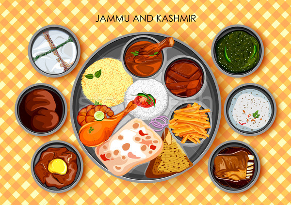 Hagyományos konyha étel étel India illusztráció Stock fotó © vectomart