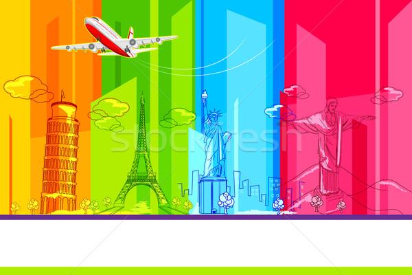 Körül világ illusztráció történelmi repülőgép világutazás Stock fotó © vectomart