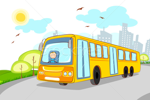 Pilote bus scolaire illustration cityscape route fenêtre Photo stock © vectomart