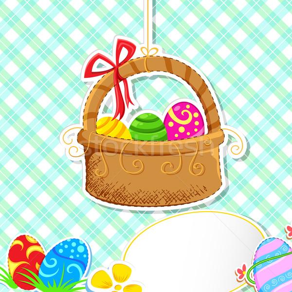 Húsvéti tojás kosár illusztráció tele színes díszített Stock fotó © vectomart