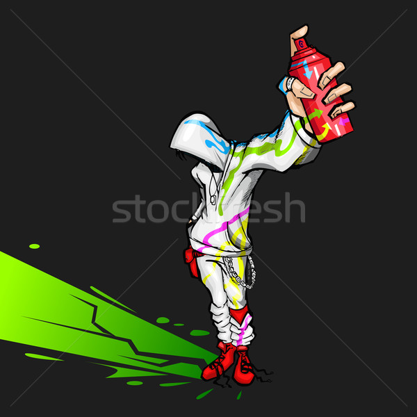 Cool Guy holding Spray Painting Stock photo © vectomart