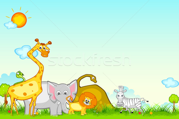 Dschungel Safari Illustration unterschiedlich Tier Sonne Stock foto © vectomart