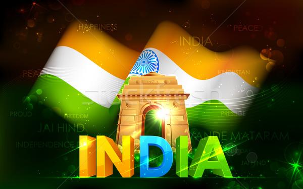 Hindistan kapı üç renkli bayrak örnek seyahat Stok fotoğraf © vectomart
