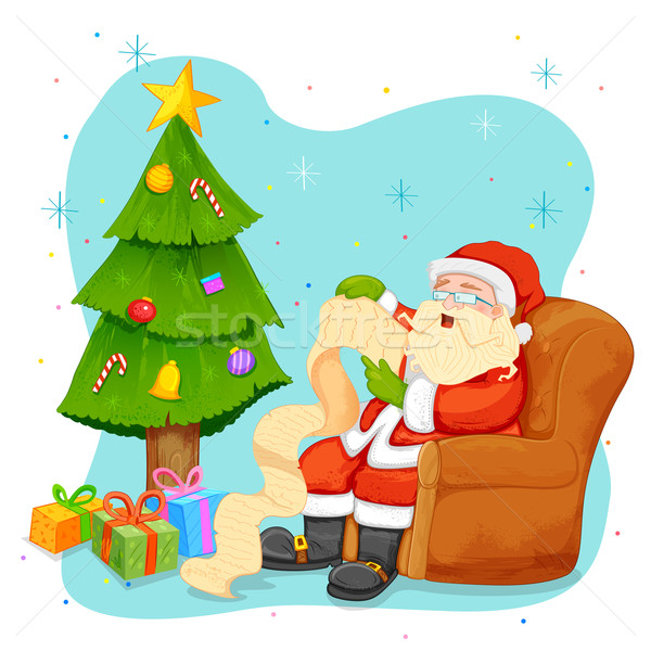 Santa Claus reading wish list for Christmas Stock photo © vectomart