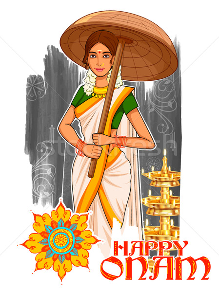 South Indian Keralite woman with umbrella celebrating Onam Stock photo © vectomart