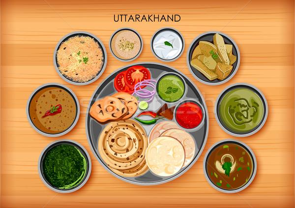 Traditioneel keuken voedsel maaltijd Indië illustratie Stockfoto © vectomart