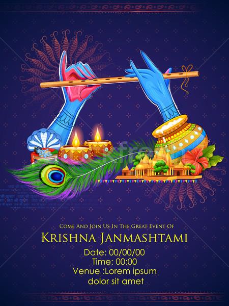 Krishna giocare flauto felice festival India Foto d'archivio © vectomart