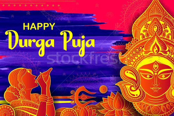 Goddess Durga in Happy Dussehra Navratri background Stock photo © vectomart