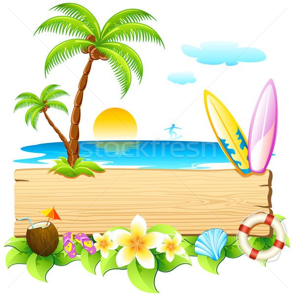 海 ビーチ 実例 サーフィン ボード ヤシの木 ストックフォト © vectomart