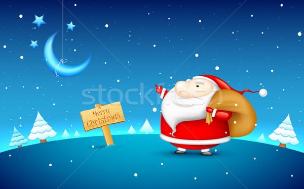Santa Claus in Christmas night Stock photo © vectomart