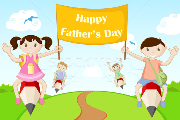 Kids flying with Happy Father's Day Banner Stock photo © vectomart