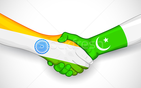 Handshake between India and Pakistan Stock photo © vectomart