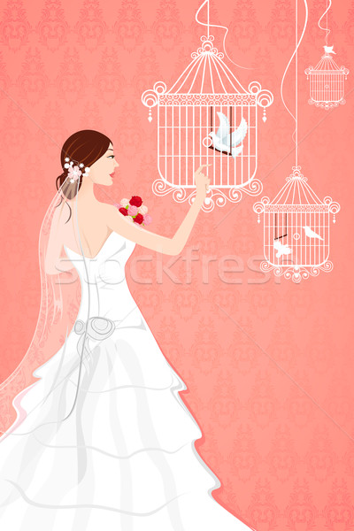 Noiva gaiola ilustração sem costura fundo amor Foto stock © vectomart