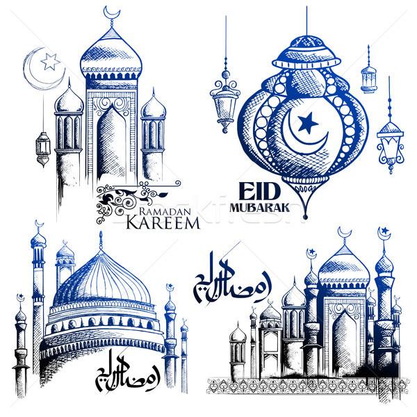 Ramadan généreux arabe mosquée illustration Photo stock © vectomart