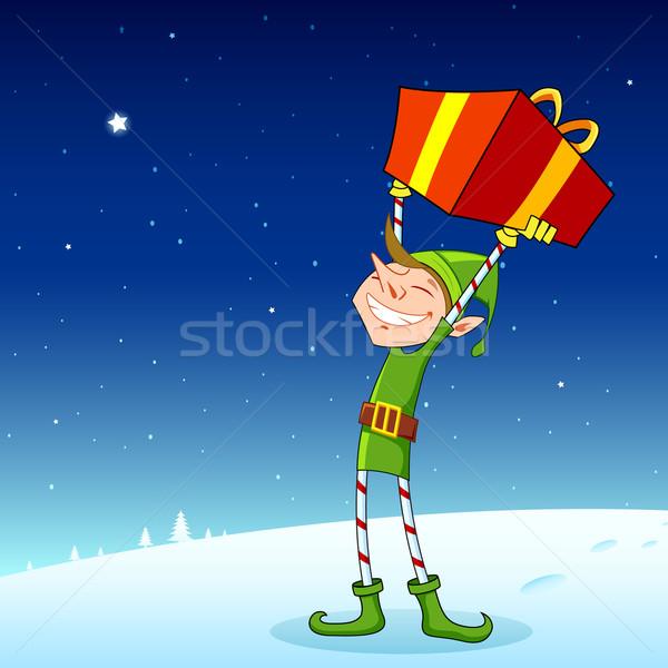 Elf geschenkdoos illustratie man gelukkig Stockfoto © vectomart