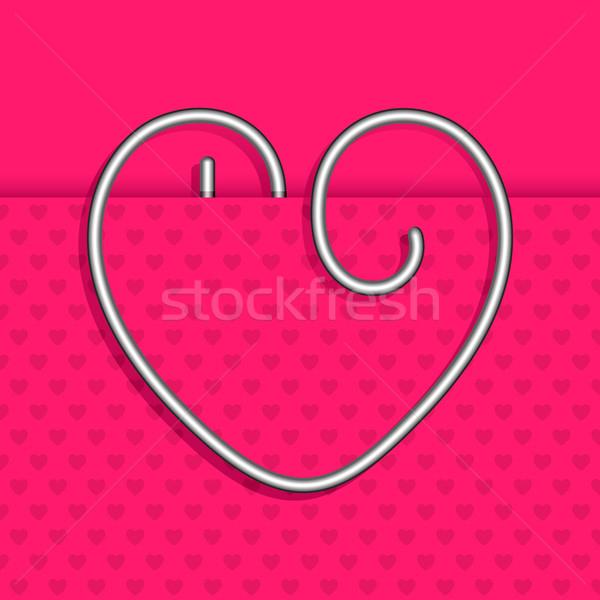 формы сердца скрепку иллюстрация бумаги свадьба Сток-фото © vectomart