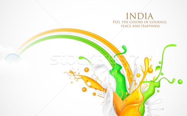красочный всплеск Индия триколор иллюстрация зеленый Сток-фото © vectomart
