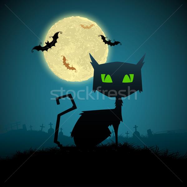 Fekete macska halloween éjszaka illusztráció telihold terv Stock fotó © vectomart