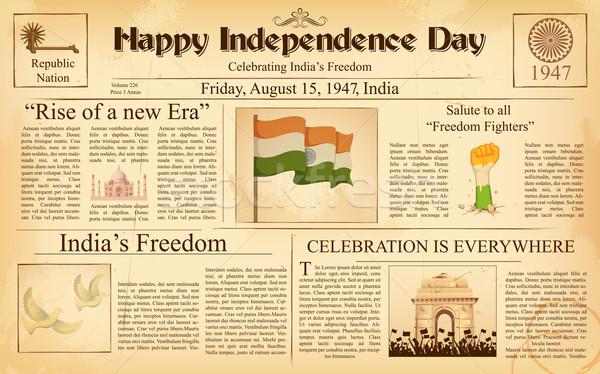 Foto stock: Vintage · periódico · feliz · día · India · ilustración