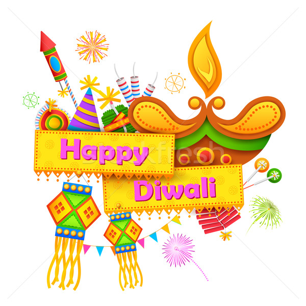 Stock photo: Happy Diwali background with diya and firecracker