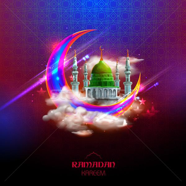 Ramadan Kareem Generous Ramadan greetings in Arabic freehand with mosque Stock photo © vectomart